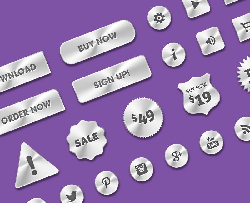 Metal Web Buttons PSD