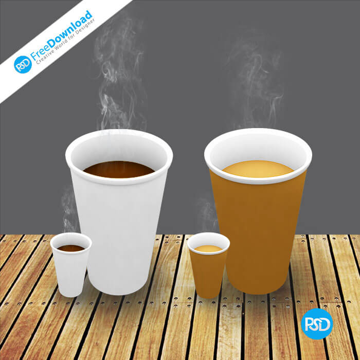 Morden Coffee Cups PSD Design