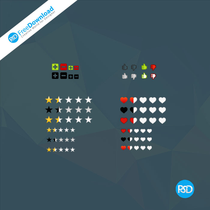 Rating Voting Like Heart Icons psd