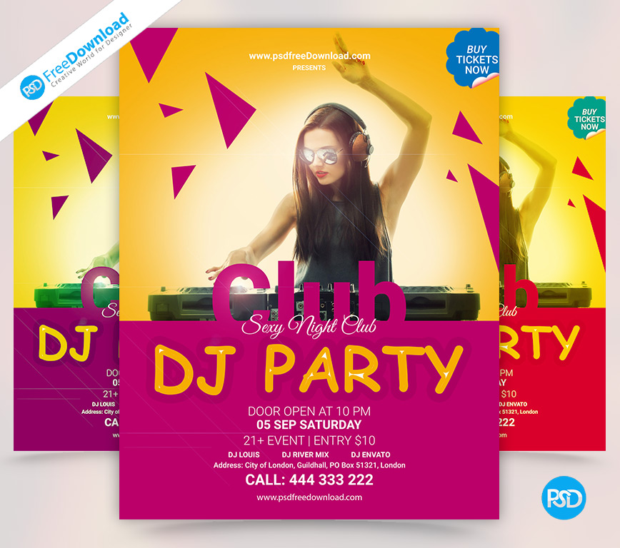 free dj party flyer template