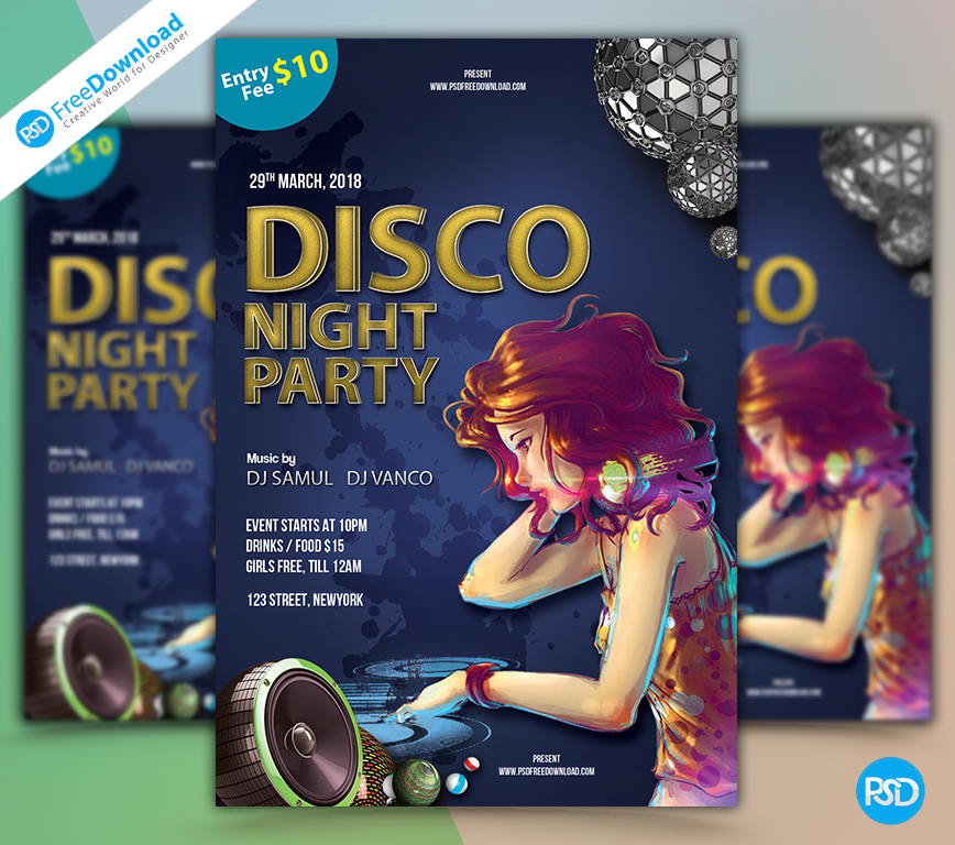 Disco, Dj, Party flyer, Dj night, Show, Party time, Flyerdesign, Freeflyer, club, flyers, Free, Graphic, Print, Night, Nye, Party, Photoshop, Poster, Printable, PSD, Psd free, Template, Ticket, Flyer download, Psd free download, Print, Promotion, Creative Flyer, Business flyer, Marketing