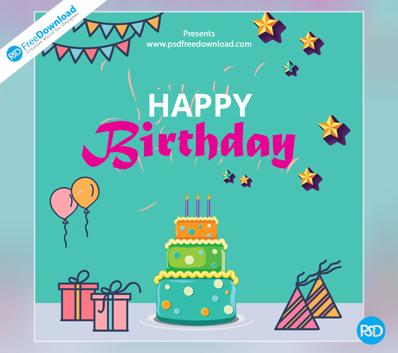 happy birthday template greeting card  psd free download